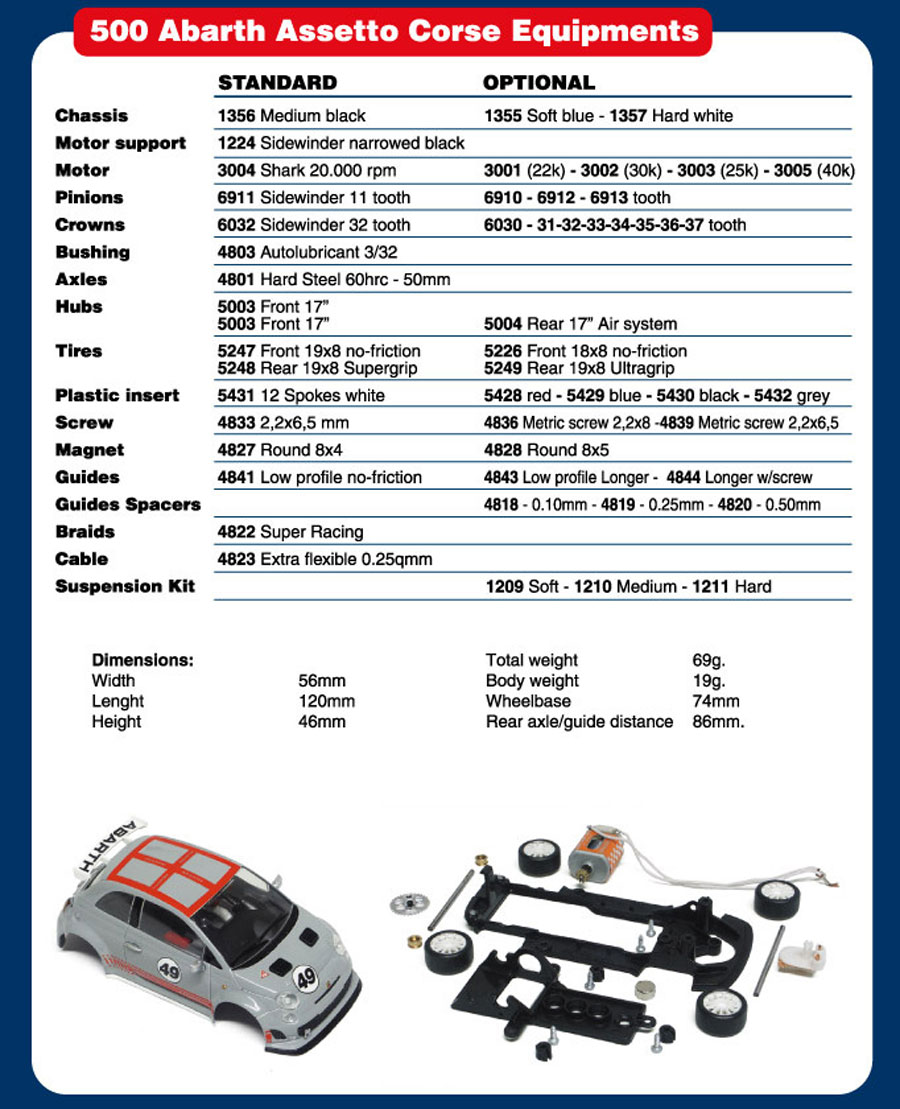 NSR Tuning parts Fiat 500 | Slotcars und Slotcar Zubehör